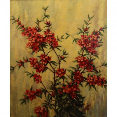 Red Flowers Japanese Apple Branches Signed & Numbered Oil on Canvas Framed Still Life