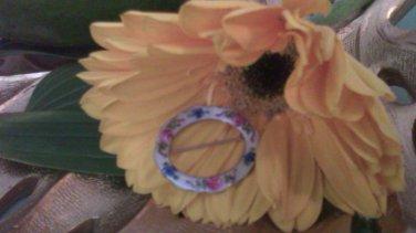 Vintage LaMode .925 Sterling Silver Oval Pink Blue Flowers Hand Painted Enamel Guilloché Brooch Pin