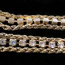 "Vintage Gold Filled Cubic Zirconia Rhinestones Double Rope Tennis Bracelet 7 ½"" L"