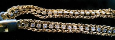 Vintage Gold Filled Cubic Zirconia Rhinestones Double Rope Tennis Bracelet 7 ½� L
