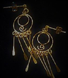 Gold Vermeil Plated over Sterling Silver Circle Swirl Long Graduated Dangles Earrings