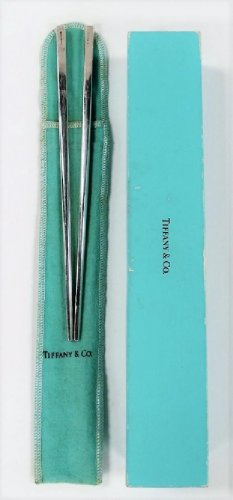 "Vintage Pair Tiffany & Co. .925 Sterling Silver Chopsticks 9"" L Extremely Rare"