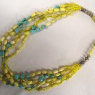 Dramatic Vintage Turquoise Blue Yellow Stone Glass Bead Multi-Strand Necklace 22""