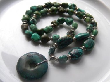 """Antique Natural Green Turquoise Bead 20"""" Vintage Necklace Large 1.25"""" Pendant"""