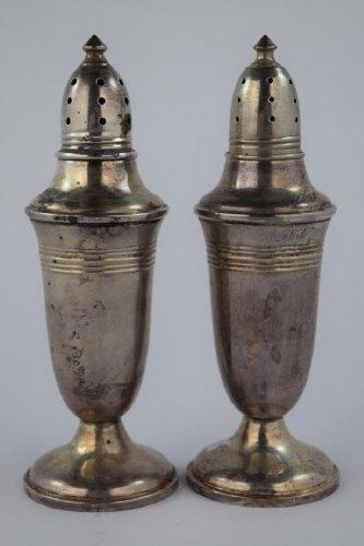 Vintage Pair Sterling Silver .925 Weighted Salt & Pepper Shakers