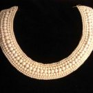 Vintage White Beaded Collar - Hook & Eye Clasp - Satin Lined - Wedding Necklace - Sweater Accessory