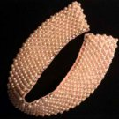 Vintage Pink Faux Pearl Collar w/ Rhinestones - Hook & Eye Clasp - Sweater Collar, Wedding Necklace