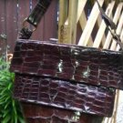Vintage 1940s Holzer Alligator Handbag-Oval Bottom, Zipper Closure, Suede Lined, Made in Argentina