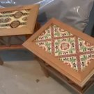 Vintage Rustic Primitive Mexican Talavera Tile Top and Wood Occasional Tables