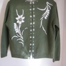 Lovely Vintage 1950s Beaded Front and Back Sweater Size 44 Med