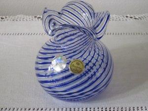 Turkish Glass Vase Pasabahce Hand Made Blue Twist