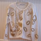 Glitzy Michael Simon Sample Sweater Gold Beads Jewelry Theme Large