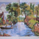 Scenic Needlepoint Canvas of River in Countryside with Man Fishing