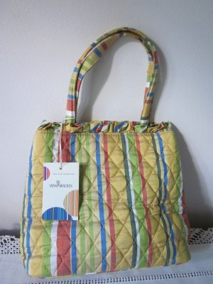 Vera Bradley Pineapple Silk Yellow Stripe Kate Bag New