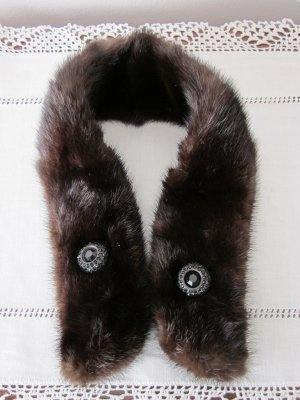 Very Dark Brown Vintage Mink Collar for Coat or Suit from 50s