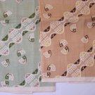 Pair Vintage Linen Tea Towels Atomic Print Brown Green Unused
