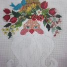 Spring Fling Santa Needlepoint Canvas with Fibers Libby Sturdy