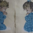 Pair Vintage Needlepoint Canvas Praying Children Boy Girl
