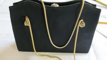After Five Black Satin Vintage Evening Bag