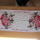 Unused Vintage Christmas Table Runner, Bells, Holly