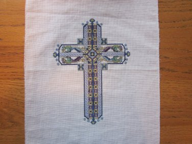 Celtic Sapphire Cross Completed Cross Stitch from Vickery Collection