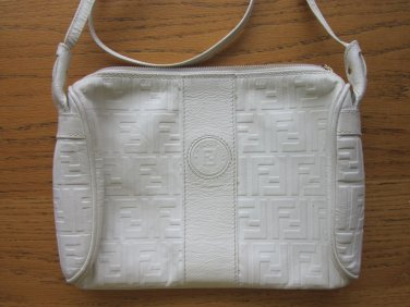 Fendi Vintage Italy Crossbody White Shoulder Bag Free Shipping
