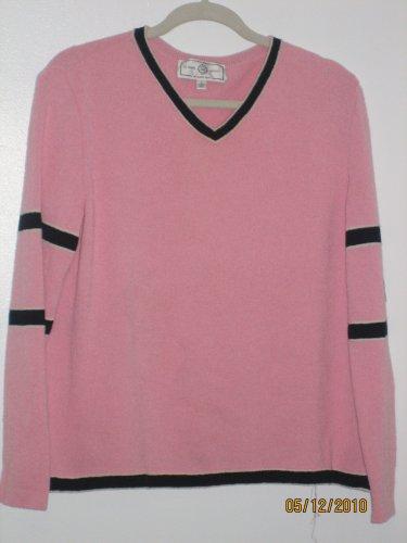 St. John Marie Gray Sport Pink v Neck Sweater Large