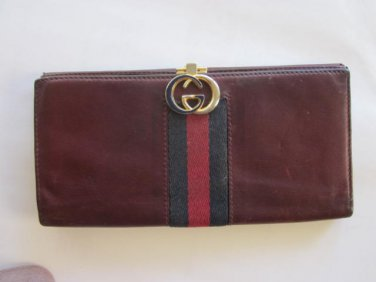 Vintage Gucci Women�s Wallet with Blue and Red Stripe Free Ship