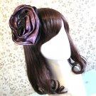 2-Color Silky Chiffon Rose Flower Hair Fascinator Top Hat Clip Brooch Party Birthday Wedding Church