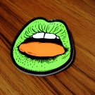 Free Shipping Stunning Green Lip Badge Bag Pin Brooch Clothes