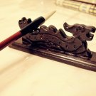 Chinese Traditional Tool Luck Dragon Wood Wooden Brush Pen Stand Penholder