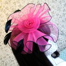 Fuchsia Mesh Flower Feather Veil Net Top Hair Fascinator Clip Brooch Party Birthday Wedding Church