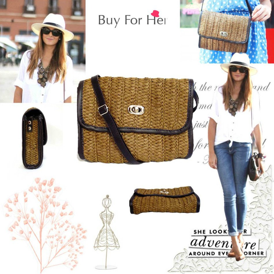 Free Ship Woven Straw Brown Cross Body Shoulder Bags Handbags Purse Beach Accessory