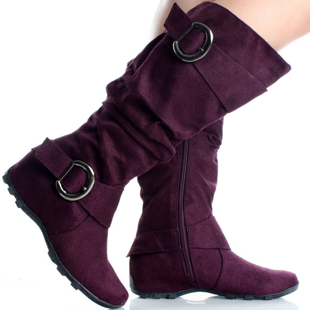 size 7 5 purple flat knee high boots slouch buckle