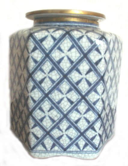 HANDPAINTED PORCELAIN COVERED CANISTER