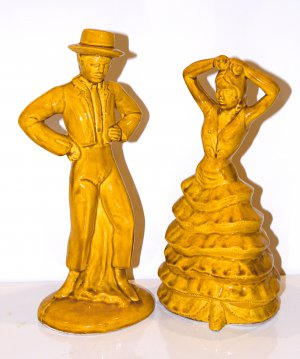 """13"""" Tall California Pottery Mexican Dancing Couple"""