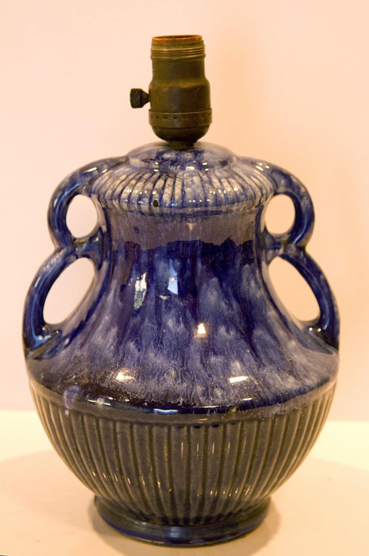 1940's Mid Century Blue Drip Glaze Pottery Lamp McCoy?