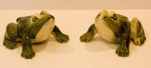 Pair Brush McCoy Garden Frog Figurines