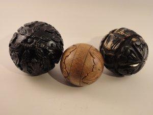 Carpet Bowls / Balls - Set of three, one wooden