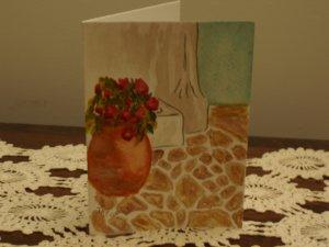 Hand painted blank card vase Mediterranean scene watercolor