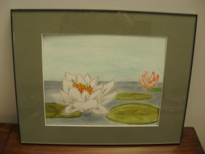 Waterlily watercolor framed with mat