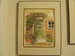Watercolor Door Scene