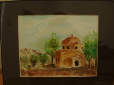 Watercolor Greek Orthodox Church in Cyprus