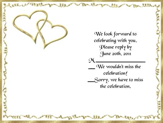 Gold Hearts rsvp cards