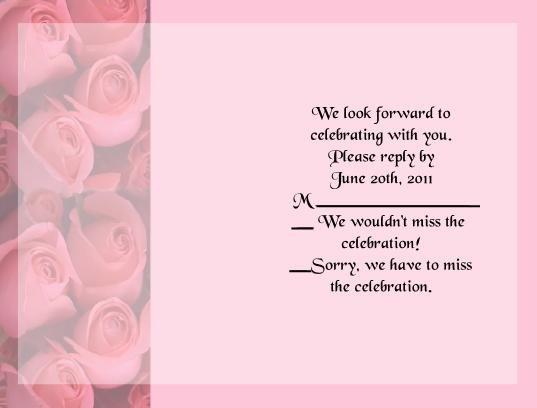 Pink Roses rsvp cards
