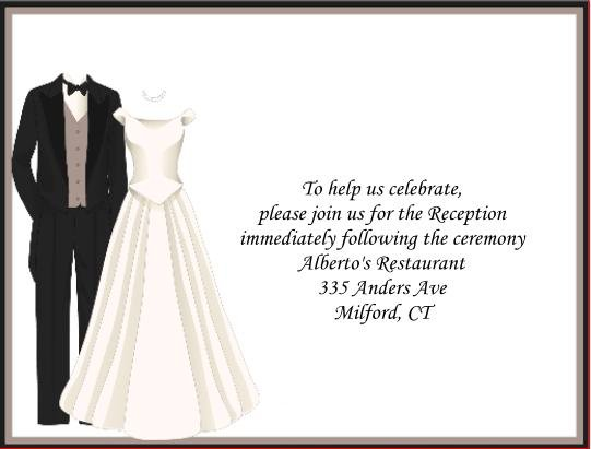 Wedding Attire reception cards