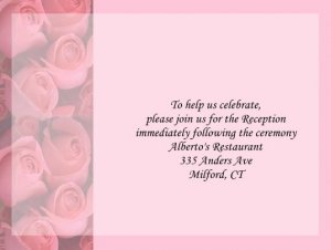 Pink Roses reception cards