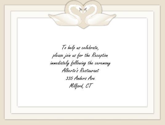 Swans reception card