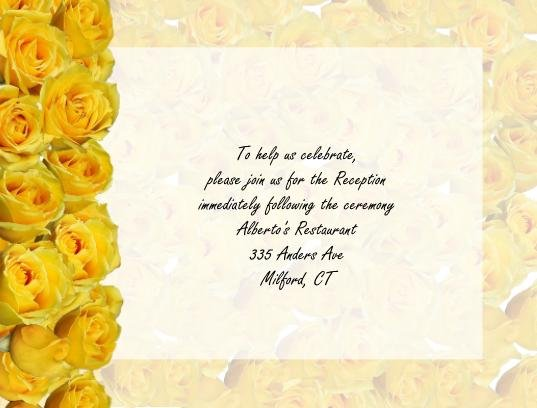 Yellow Roses reception cards