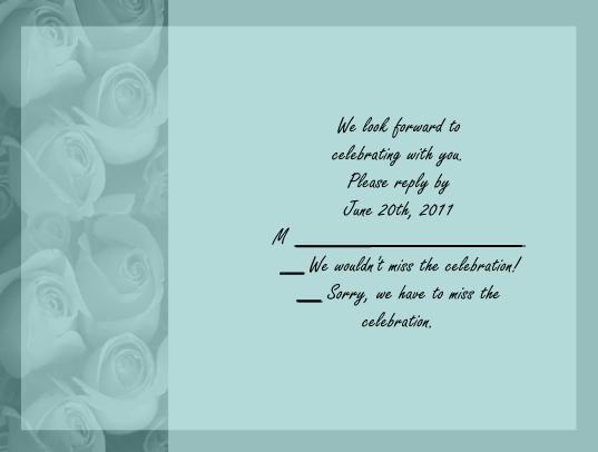 Teal Roses rsvp cards
